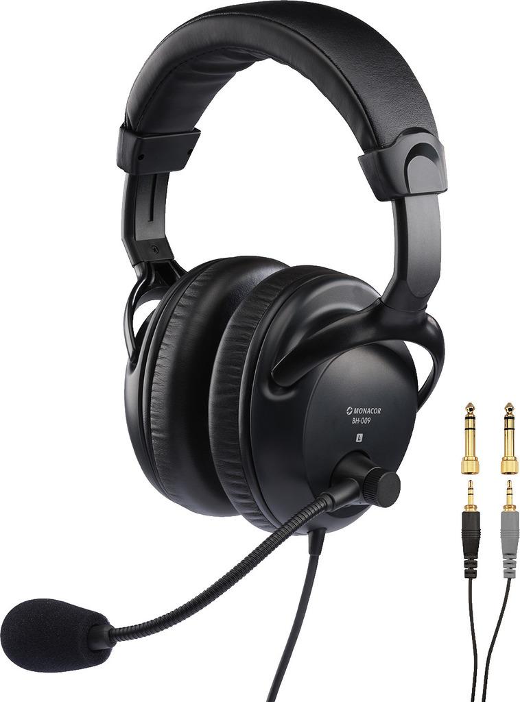MONACOR BH-009 Professioneller Stereo-Kopfhörer mit dynamischem Bügelmikrofon