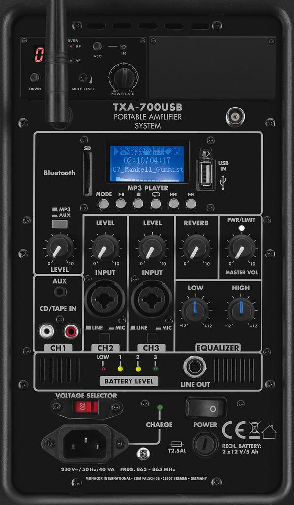MONACOR TXA-700USB Transportables Verstärkersystem