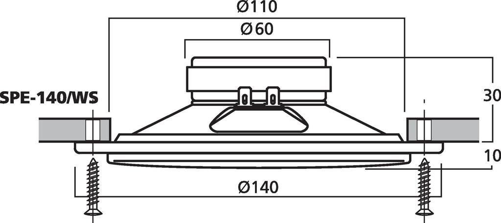 MONACOR SPE-140/WS Einbaulautsprecher, 10 W