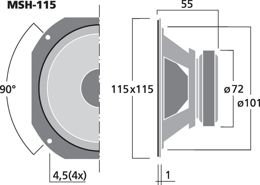 MONACOR MSH-115 Hi-Fi-Mitteltöner, 50 W, 8 Ω