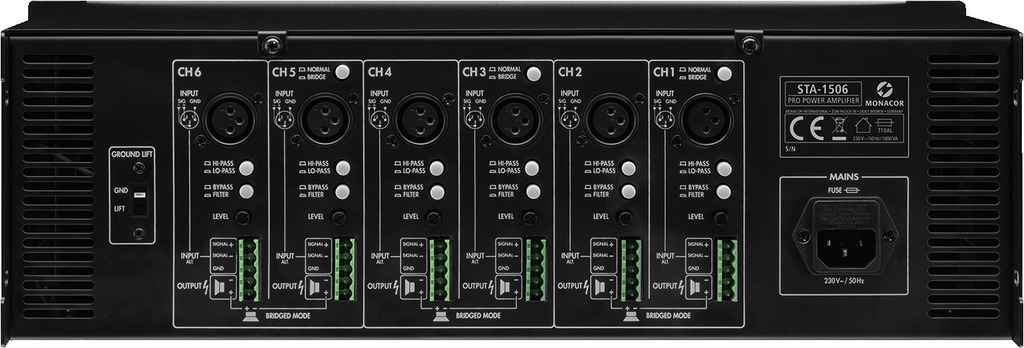 MONACOR STA-1506 6-Kanal-PA-Verstärker, 960 W