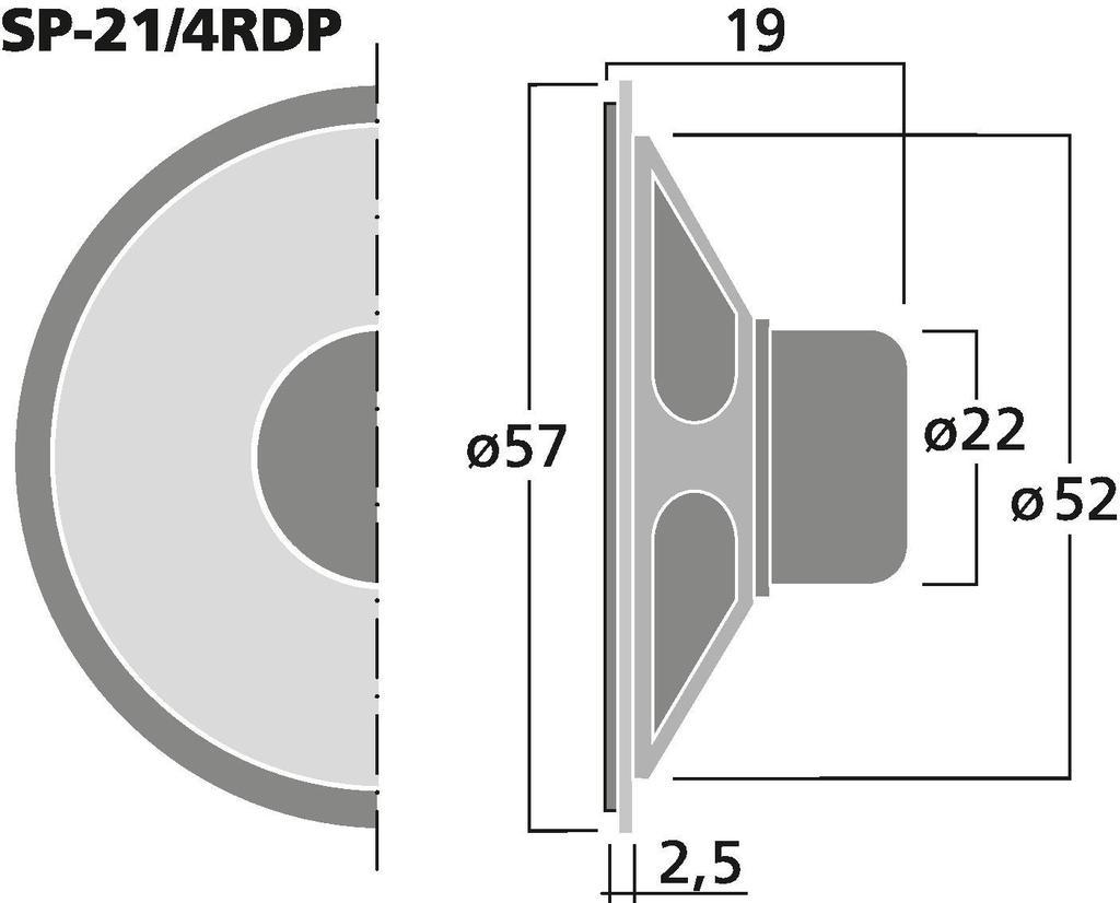 MONACOR SP-21/4RDP Miniatur-Einbaulautsprecher, 8 Ω
