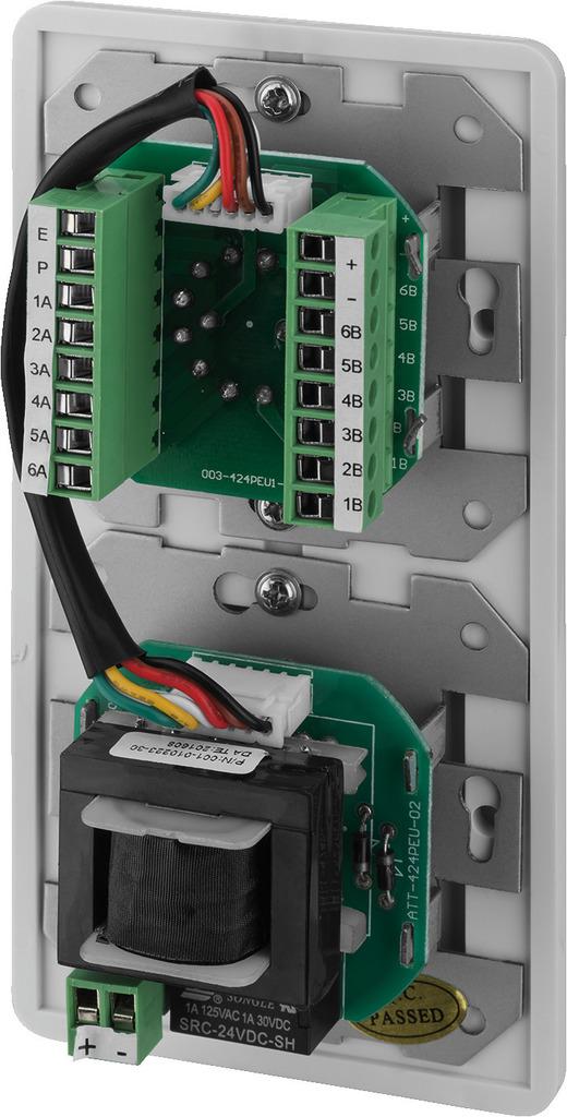 MONACOR ATT-424PEU ELA-Einbau-Lautstärkesteller mit Programmwähler und 24-V-Pflichtempfangsrelais, 24 W