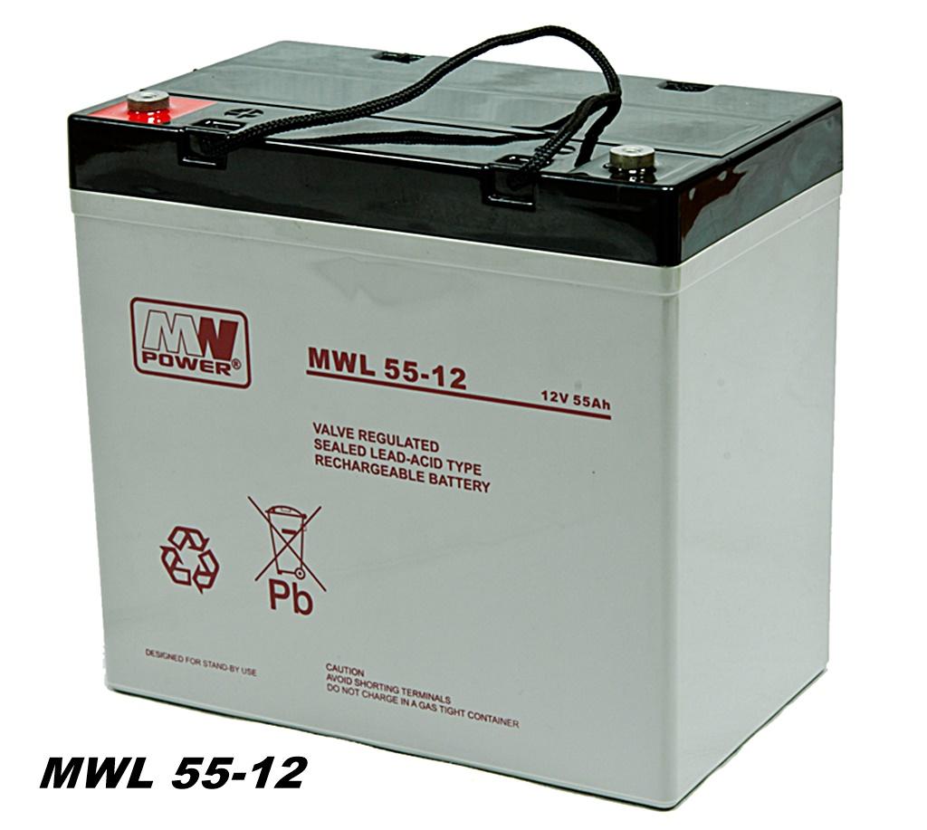 Premium Batterie MW-Power AGM Batterie MWL 55-12 VRLA 12V 55Ah (C20) Long Life Seniorenmobil