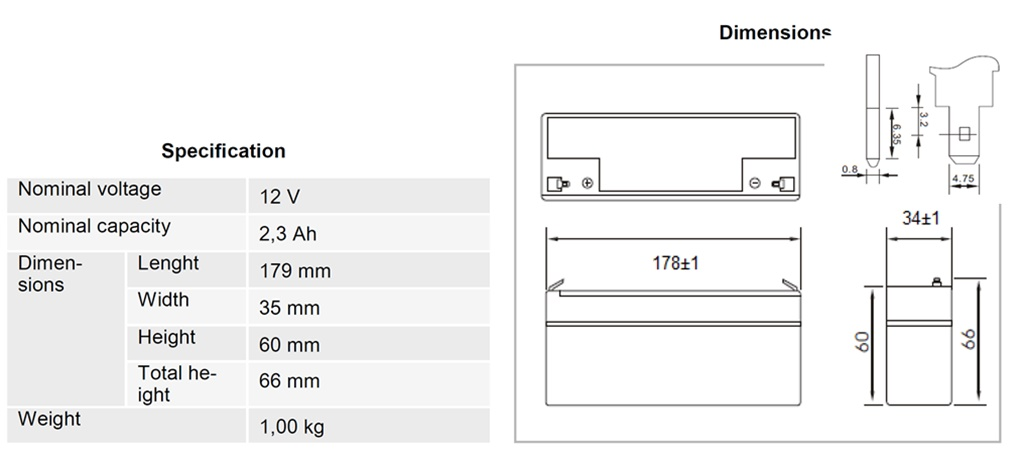 AGM-Batterie 12V 2,3Ah MW-Power MWS 2.3-12 VRLA-Technik wartungsfrei