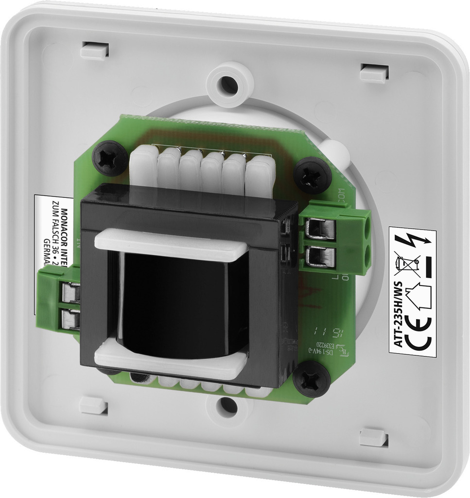 MONACOR ATT-235H/WS ELA-Einbau-Lautstärkesteller, 35 W