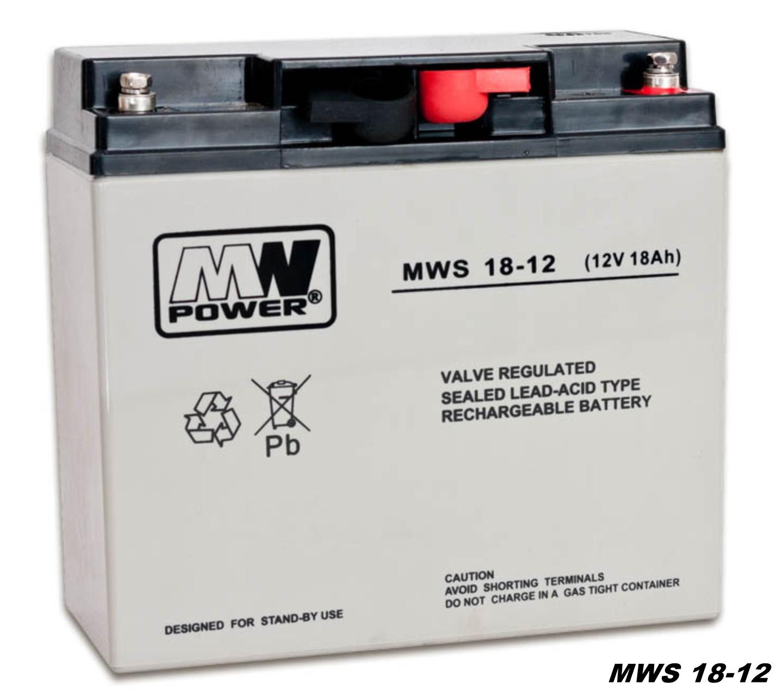 AGM-Batterie 12V 18Ah MW-Power MWS 18-12 VRLA-Technik wartungsfrei