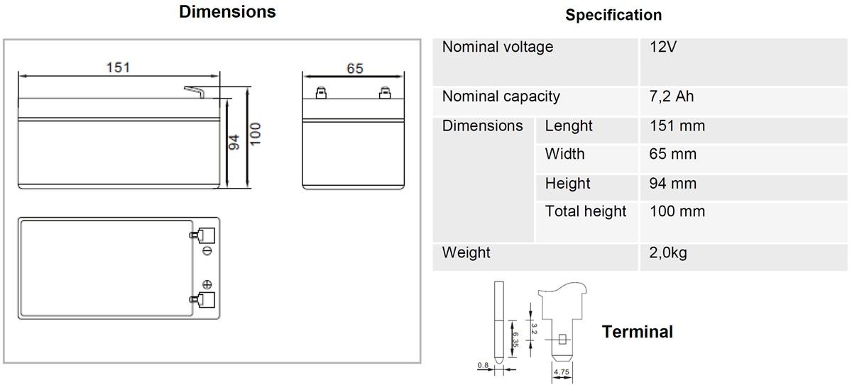 AGM-Batterie 12V 7,2Ah MW-Power MWS 7.2-12 VRLA-Technik wartungsfrei