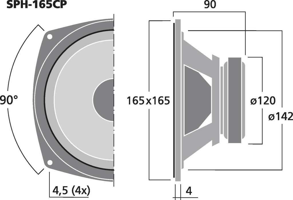 MONACOR SPH-165CP Hochleistungs-Hi-Fi-Tiefmitteltöner, 80 W, 8 Ω