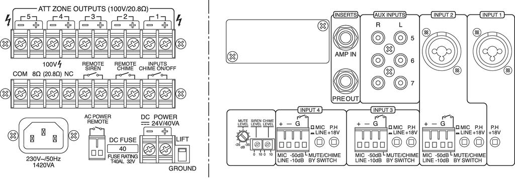 MONACOR PA-5240 5-Zonen-ELA-Mono-Mischverstärker, 240 W
