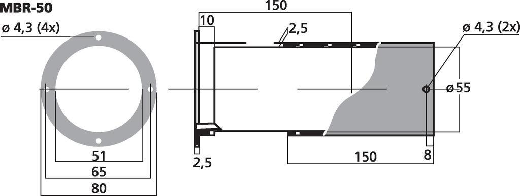 MONACOR MBR-50 Bassreflexrohr SV=20,4 cm2