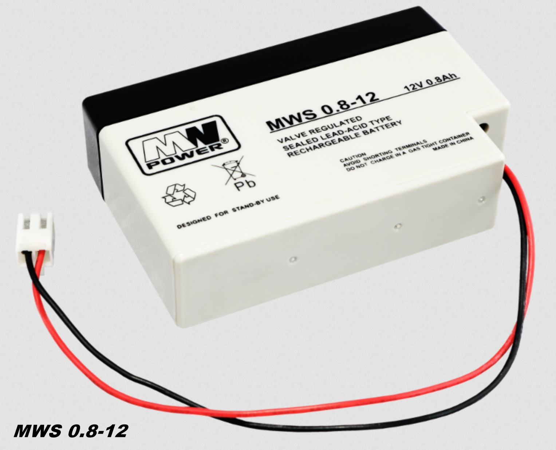 AGM-Batterie 12V 0,8Ah MW-Power MWS 0.8-12 VRLA-Technik wartungsfrei
