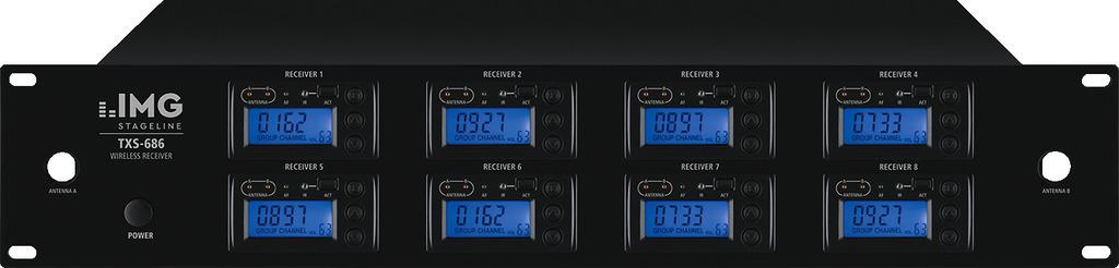 IMG STAGELINE TXS-686 8-Kanal-Multi-Frequenz-Empfängereinheit, 672,000-696,975 MHz