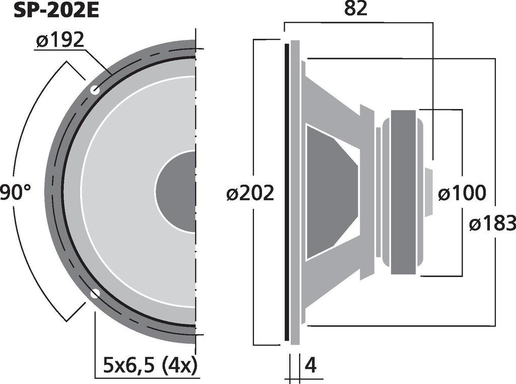 MONACOR SP-202E Hi-Fi-Tiefmitteltöner, 50 W, 4 Ω