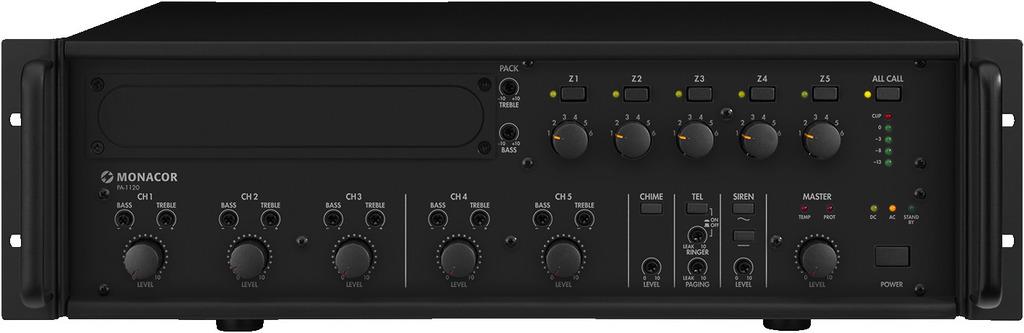 MONACOR PA-1120 5-Zonen-ELA-Mono-Mischverstärker, 120 W