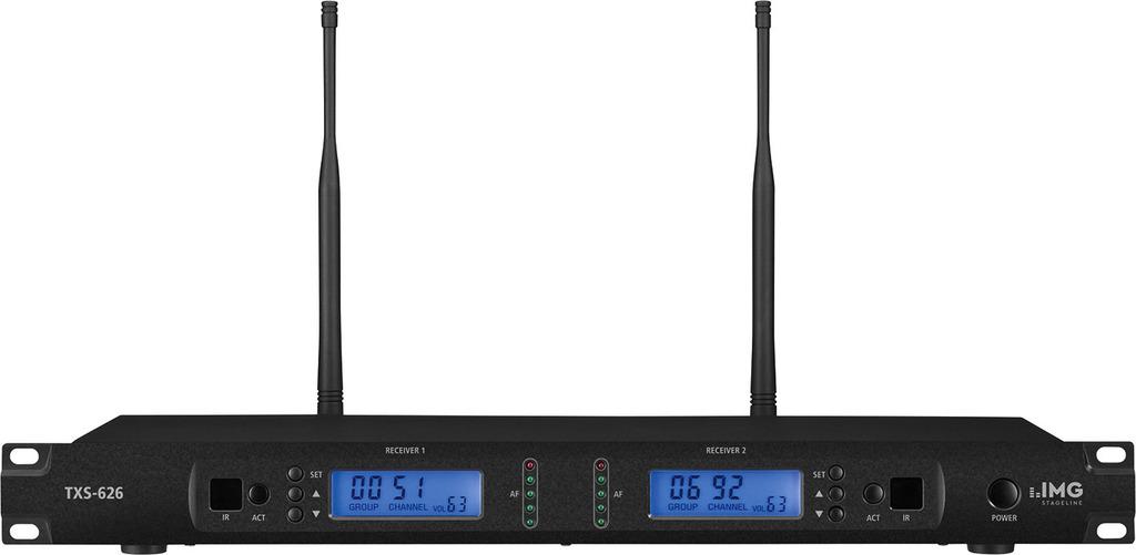 IMG STAGELINE TXS-626 2-Kanal-Multi-Frequenz-Empfängereinheit, 672,000-696,975 MHz