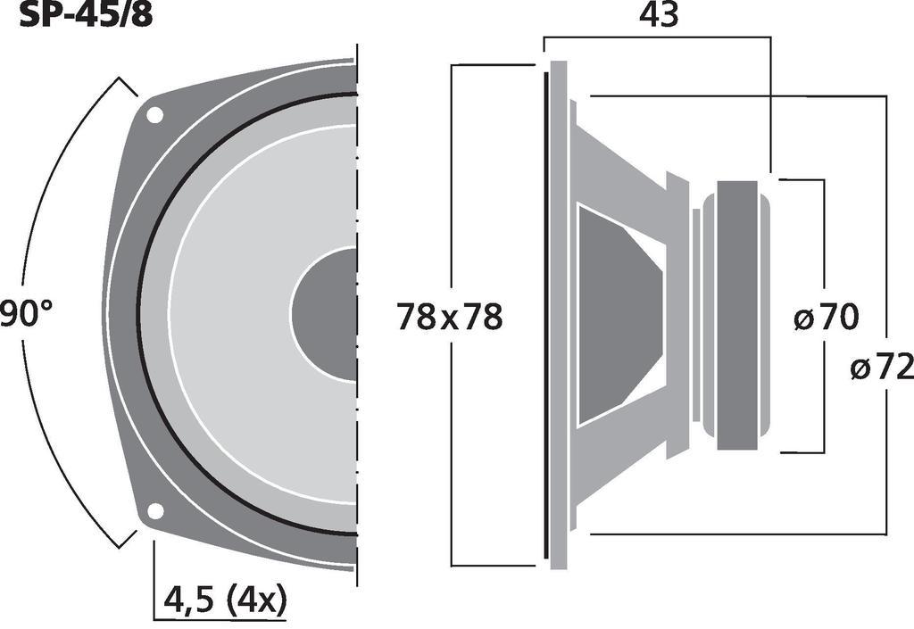 MONACOR SP-45/8 Tiefmitteltöner, 20 W, 8 Ω